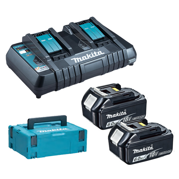 Комплект акумулаторни батерия и зарядно Li-Ion Makita, 18.0 V, 6.0 Ah, 2х BL1860B, DC18RD
